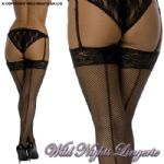 Fishnet Lace Top Seamed Stockings